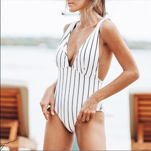 Other - COMING SOON ❗️ White and Black Striped Swimsuit